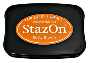 StazOn Permanent Ink Stamp Pad 1 7 8 X 3 Rusty Brown