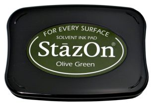 StazOn Permanent Ink Stamp Pad 1 7 8 X 3 Olive Green