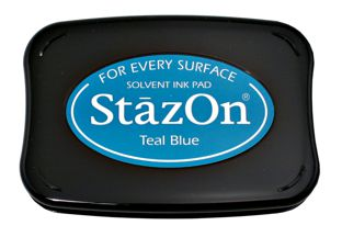 StazOn Permanent Ink Stamp Pad 1 7 8 X 3 Teal Blue